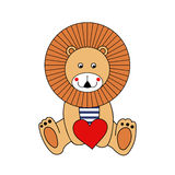 Cute cartoon lion with red heart. Valentine's day card. Stock Photos