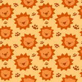 Cute cartoon lion seamless pattern background illustration for kids Stock Photos