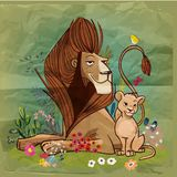 Cute cartoon lion king with kid. Cute cartoon lions family. vector birthday card vector illustration