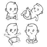 Cute cartoon little babies set outline. Vector illustration Stock Photo
