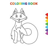 Cute cartoon little baby fox animal coloring book for kids. black and white vector illustration for coloring book. little baby fox