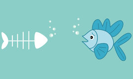 Cute cartoon little blue fish and fish bone funny humor concept illustration about dead Stock Photography