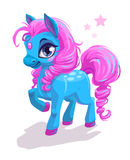 Cute cartoon little blue horse with pink hair. Beautiful pony princess character, vector illustration isolated on white royalty free illustration