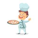 Cute cartoon little boy chef character holding a pizza in a cooking tray  Illustration Stock Image
