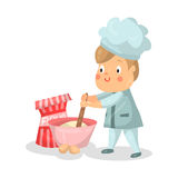 Cute cartoon little boy chef character with mixing bowl and a whisk  Illustration Stock Image