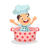 Cute cartoon little boy chef character sitting in a dotted pan  Illustration. Isolated on a white background Stock Photos