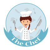 Cute cartoon of little chef cooking. At kitchen Stock Image