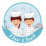 Cute cartoon of little chef cooking. At kitchen Royalty Free Stock Photo