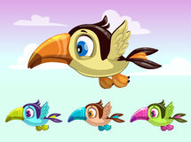 Cute cartoon little flying bird. Toucan ions Royalty Free Stock Image