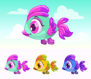 Cute cartoon little flying bird. Royalty Free Stock Photos
