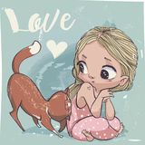Cute cartoon little girl with cat. Vector illustration Stock Photos