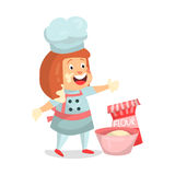 Cute cartoon little girl chef character baking  Illustration Royalty Free Stock Photography