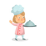 Cute cartoon little girl chef character holding cloche platter  Illustration Royalty Free Stock Images