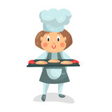Cute cartoon little girl chef character holding a cooking tray with buns  Illustration Royalty Free Stock Images