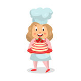 Cute cartoon little girl chef character holding a strawberry cake  Illustration. Isolated on a white background Stock Photography