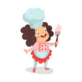 Cute cartoon little girl chef character holding whisk with pink cream  Illustration. Isolated on a white background Royalty Free Stock Photos