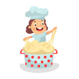 Cute cartoon little girl chef character kneading the dough  Illustration Royalty Free Stock Images