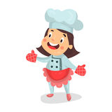 Cute cartoon little girl chef character in red apron and kitchen oven gloves  Illustration Stock Photos
