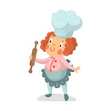 Cute cartoon little girl chef character with rolling pin  Illustration. Isolated on a white background Stock Photo