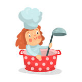 Cute cartoon little girl chef character sitting in a pan with ladle  Illustration. Isolated on a white background Stock Photo