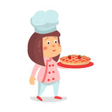 Cute cartoon little girl chef character with strawberry pie cake  Illustration Royalty Free Stock Photos