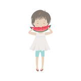 Cute cartoon little girl eating watermelon Stock Image