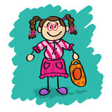 Cute cartoon little girl Royalty Free Stock Image