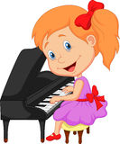 Cute cartoon little girl playing piano