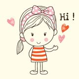 Cute Little Girl Saying Hi. A Cute Cartoon Little Girl Saying Hi vector illustration