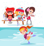 Cute cartoon little girls on ice rink. Figure skating for kids. Vector illustration Stock Images