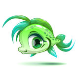 Cute cartoon little green girl fish Royalty Free Stock Photos