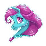 Cute cartoon little horse face. Royalty Free Stock Photo