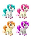 Cute cartoon little horses. Stock Photo