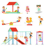 Cute cartoon little kids playing and having fun at the playground set, children playing outdoors vector Illustrations Stock Images