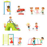 Cute cartoon little kids playing and having fun at the playground set of vector Illustrations Stock Images