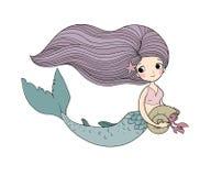 Cute cartoon little mermaid. Siren. Sea theme. stock photography