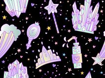 Cute cartoon little princess seamless pattern. Crown, coctail, magic wand, tiara and star on deep space background. Cute. Little girl pattern, neon colors stock illustration
