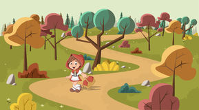 Cute cartoon little red riding hood Royalty Free Stock Photography