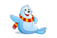 Cute cartoon little seal with a scarf. Stock Photos
