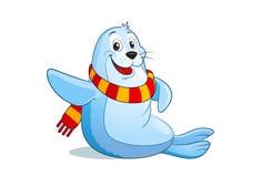 Cute cartoon little seal with a scarf. Stock Photos