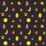 Cartoon live exotic fruits vector seamless pattern. Part one. Cute cartoon live exotic fruits vector seamless pattern. Funny characters in nice colors. Part one Royalty Free Stock Image
