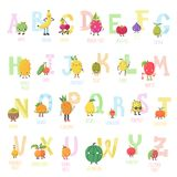 Cute cartoon live fruits vector alphabet. Funny characters in nice colors Royalty Free Stock Photo
