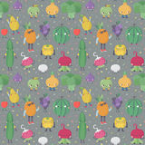 Cute cartoon live fruits and vegetables vector pattern. Part two. Cute cartoon live fruits and vegetables vector seamless pattern. Funny characters in nice Royalty Free Stock Photography