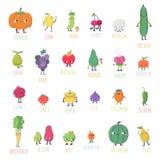 Cute cartoon live fruits & vegetables vector set. Part one. Stock Illustration