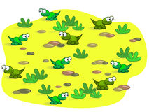 Cute cartoon lizards. The nice cartoon lizards on background of sand and stones. Baby. Nice Stock Image
