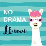 Cute Cartoon Llama Character With No Drama Llama Motivational Quote Royalty Free Stock Images