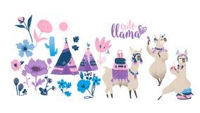 Free Cute Cartoon Llama Set - Funny Alpaca Dancing, Traveling And Drinking Tea. Stock Images - 157278814