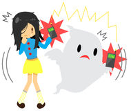 Cute cartoon long hair girl is seeing or sensing a supernatural. Ghost because they have the same frequency in  background, create by vector Stock Images
