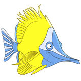 Cute cartoon longnose butterfly fish Stock Image