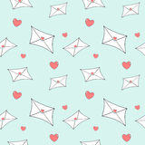 Cute cartoon love mail letter seamless pattern illustration Royalty Free Stock Photos
